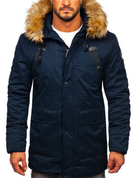 Men's Winter Parka Jacket Navy Blue Bolf 1791