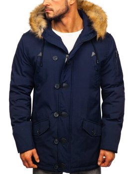 Men's Winter Parka Jacket Navy Blue Bolf 1971