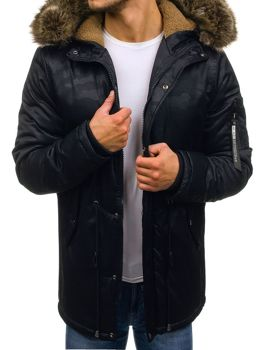 Men's Winter Parka Jacket Navy Blue Bolf R52