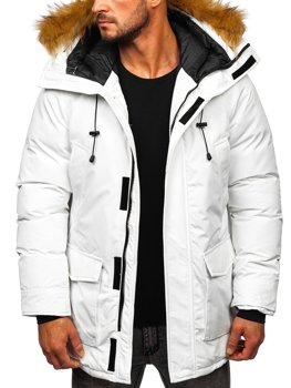 Men's Winter Parka Jacket White Bolf 1173