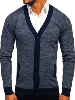 Men's Zip Sweater Navy Blue Bolf 8122