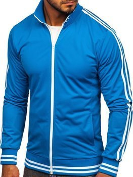 Men's Zip Sweatshirt Retro Style Blue Bolf 11113