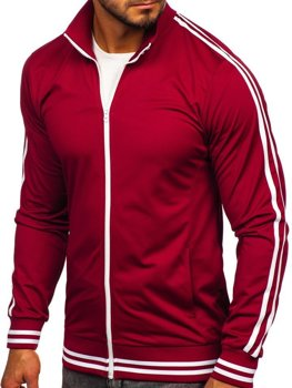 Men's Zip Sweatshirt Retro Style Claret Bolf 11113