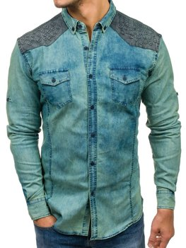 Navy Blue-Grey Men's Patterned Denim Long Sleeve Shirt Bolf 0517-1