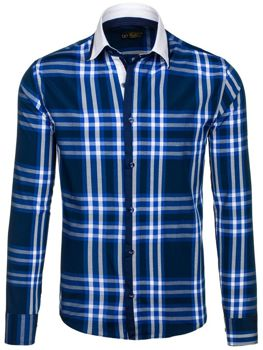 Navy Blue Men's Checked Long Sleeve Shirt Bolf 6960