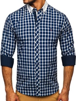 Navy Blue Men's Elegant Checked Long Sleeve Shirt Bolf 5737