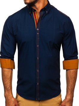 Navy Blue Men's Elegant Long Sleeve Shirt Bolf 4707