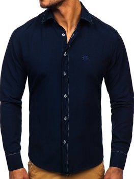 Navy Blue Men's Elegant Long Sleeve Shirt Bolf 4719