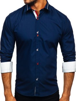 Navy Blue Men's Elegant Long Sleeve Shirt Bolf 5826