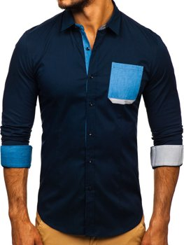Navy Blue Men's Elegant Long Sleeve Shirt Bolf 7192