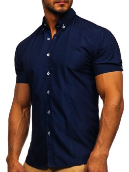 Navy Blue Men's Elegant Shirt Sleeve Shirt Bolf 5535