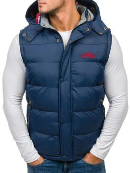Navy Blue Men's Hooded Vest Bolf 6794