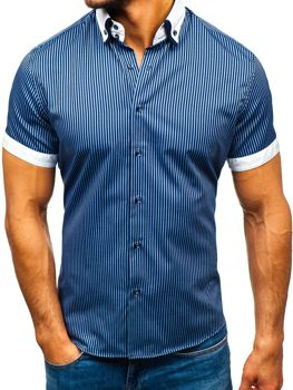 Navy Blue Men's Striped Short Sleeve Shirt Bolf 1808