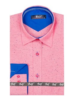 Pink Men's Patterned Long Sleeve Shirt Bolf 6887