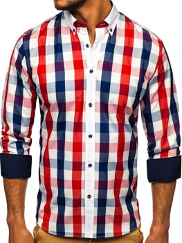 Red Men's Checkered Long Sleeve Shirt Bolf 9718