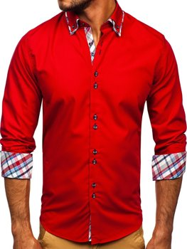 Red Men's Elegant Long Sleeve Shirt Bolf 4704