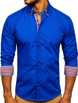 Royal Blue Men's Elegant Long Sleeve Shirt Bolf 0926