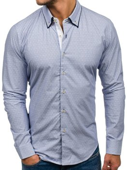 Sky Blue Men's Elegant Long Sleeve Shirt Bolf 9658