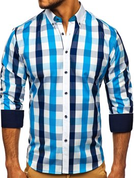Turquoise Men's Checkered Long Sleeve Shirt Bolf 9718