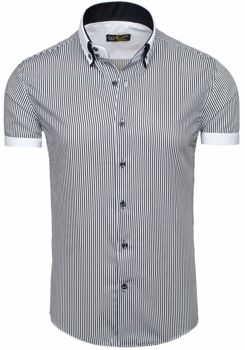 White-Black Men's Striped Short Sleeve Shirt Bolf 1808