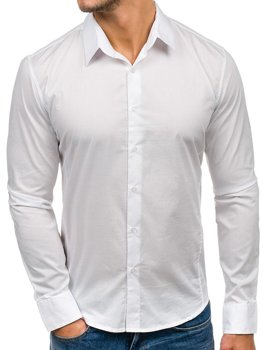 White Men's Elegant Long Sleeve Shirt Bolf 142