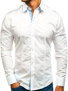 White Men's Elegant Long Sleeve Shirt Bolf 4780