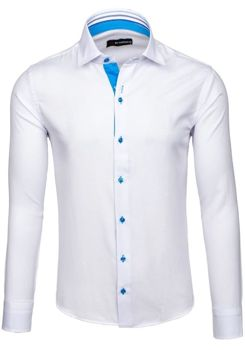 White Men's Elegant Long Sleeve Shirt Bolf 6923