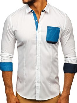 White Men's Elegant Long Sleeve Shirt Bolf 7192