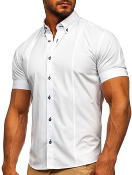 White Men's Elegant Shirt Sleeve Shirt Bolf 5535