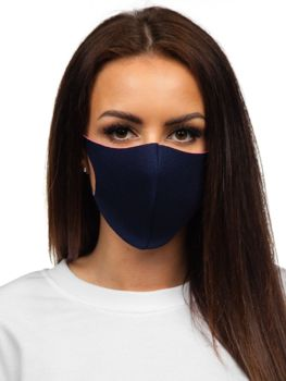 Women's Double-layered Reusable Protective Face Mask Navy Blue Bolf 004