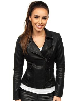 Women's Leather Biker Jacket Black Bolf 2065