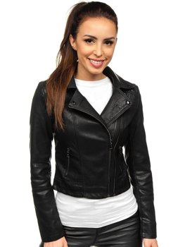 Women's Leather Biker Jacket Black Bolf 2071