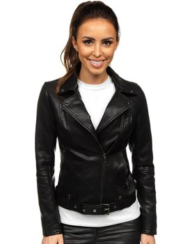 Women's Leather Biker Jacket Black Bolf 2778