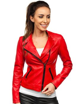 Women's Leather Jacket Red Bolf A01