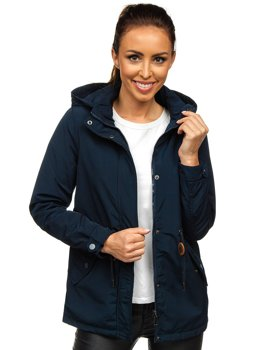 Women's Lightweight Parka Jacket Navy Blue Bolf 6364