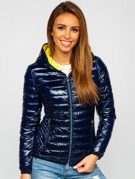 Women's Lightweight Quilted Hooded Jacket Navy Blue Bolf R9546