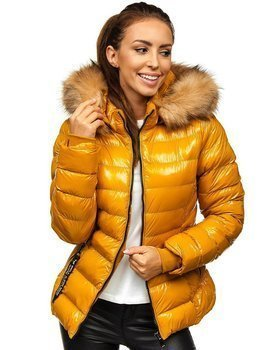 Women's Quilted Winter Hooded Jacket Camel Bolf 6340