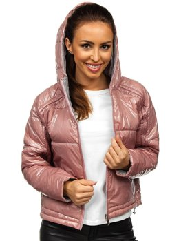 Women's Reversible Lightweight Quilted Hooded Jacket Pink Bolf B9553