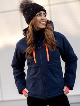Women's Ski Jacket Navy Blue Bolf HH012