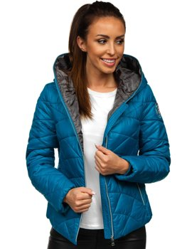 Women's Winter Quilted Hooded Jacket Blue Bolf A5701