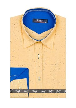 Yellow Men's Patterned Long Sleeve Shirt Bolf 6887