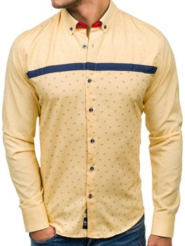 Yellow Men's Patterned Long Sleeve Shirt Bolf 6903