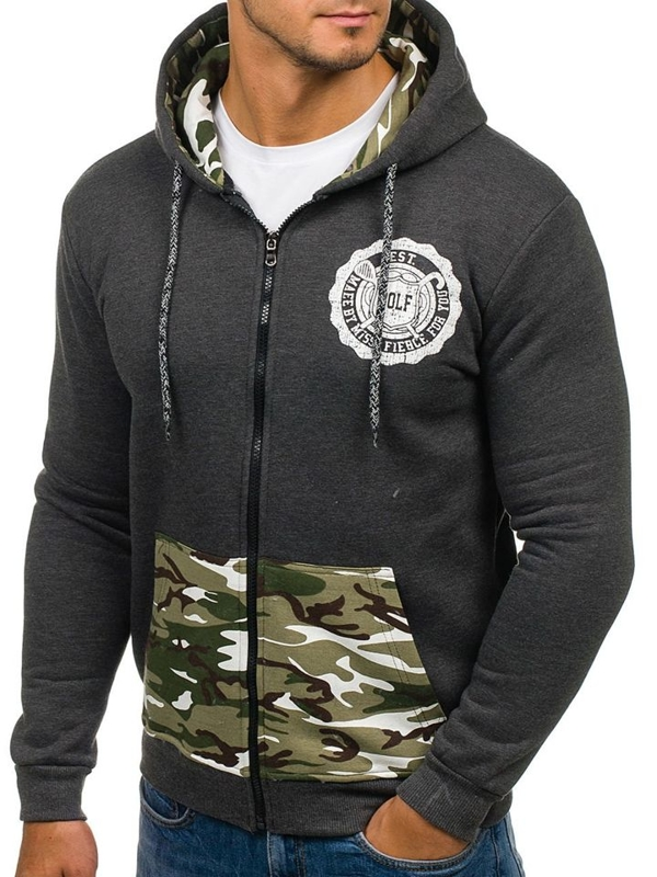Anthracite Men's Printed Hoodie Bolf 72