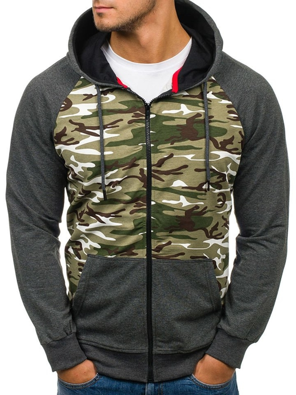 Anthracite Men's Printed Hoodie Bolf 78