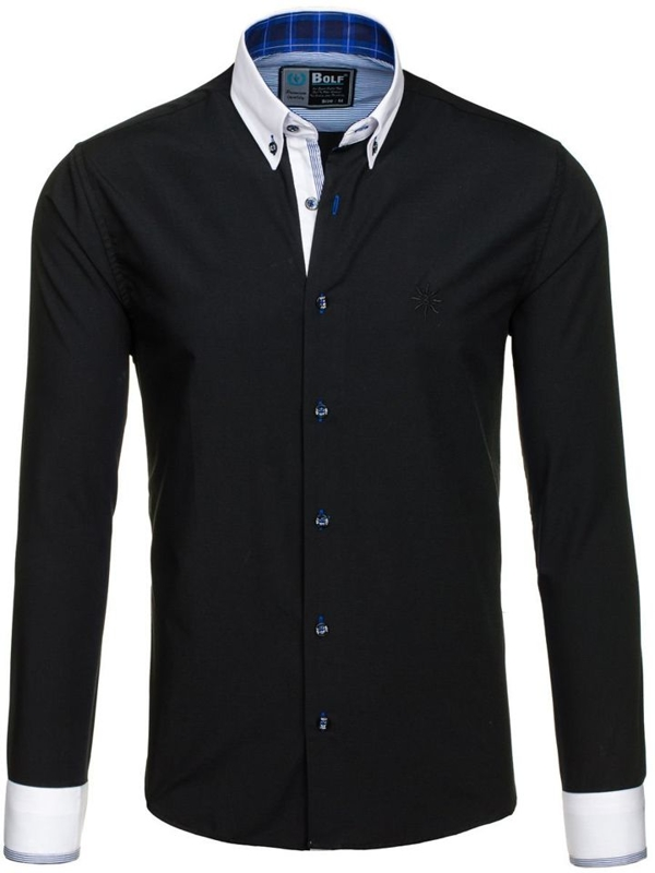 Black Men's Elegant Long Sleeve Shirt Bolf 5766-1