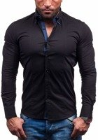 Black Men's Elegant Long Sleeve Shirt Bolf 7187