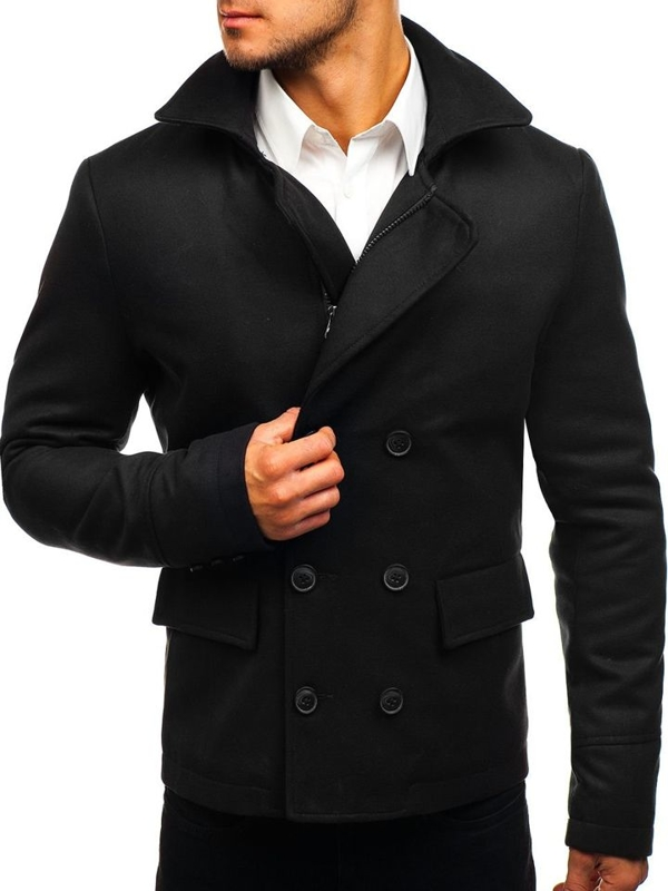 Black Men's Short Winter Coat Bolf 3130