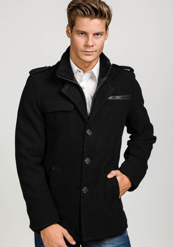 Black Men's Winter Coat Bolf 1691