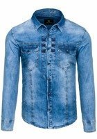 Blue Men's Denim Long Sleeve Shirt Bolf 4405