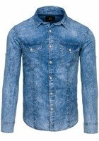 Blue Men's Denim Patterned Long Sleeve Shirt Bolf 4473